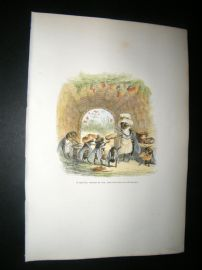 Grandville des Animaux 1842 Hand Col Print. Wasps & Bees eating honey in Nest